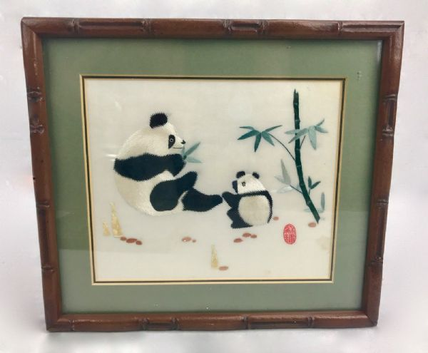 Vintage Set Of 3 Panda Pictures / Chinese Silk Embroidery / Oriental Art Framed